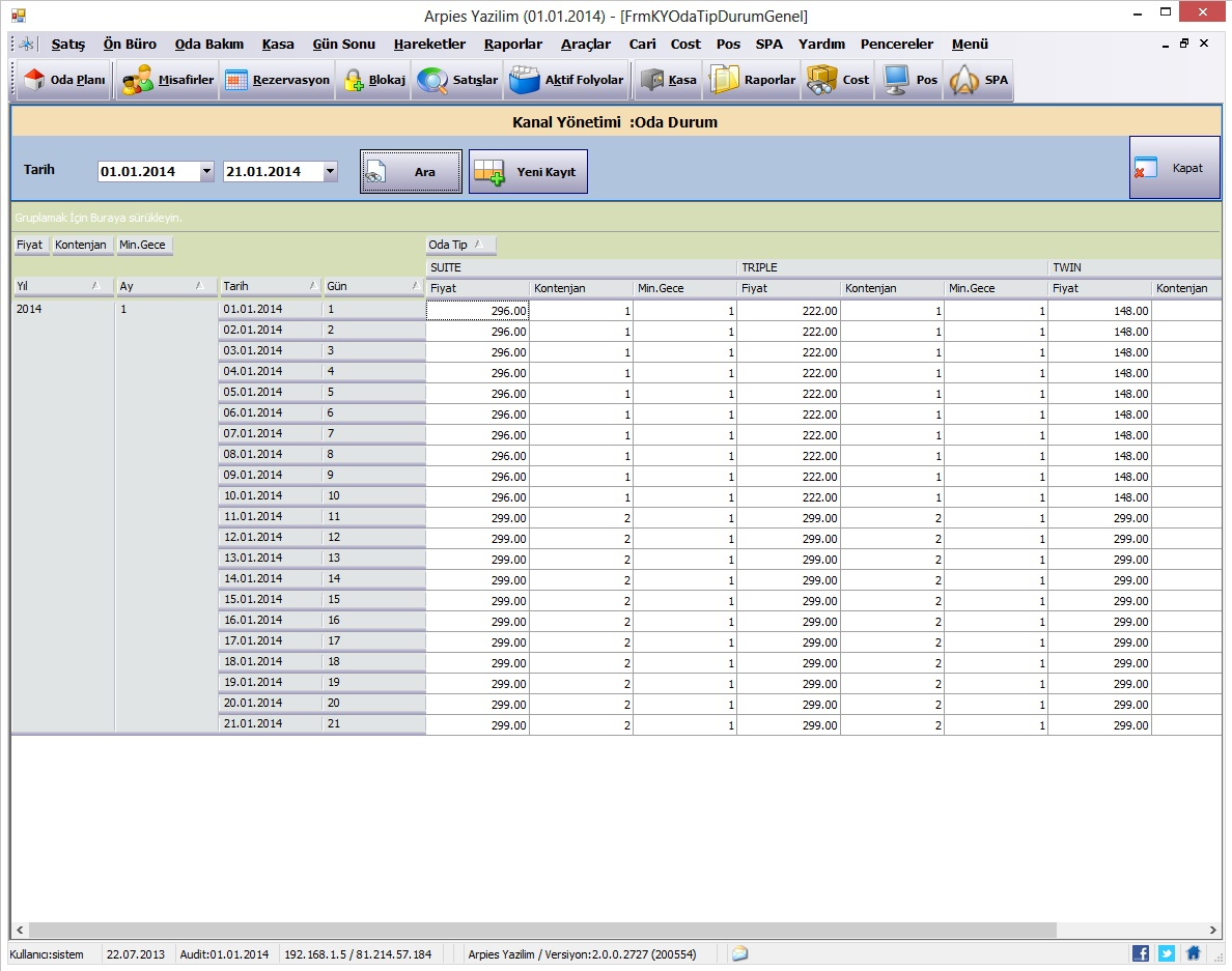 Sistem Hotel Software PMS-  Rate Analysis