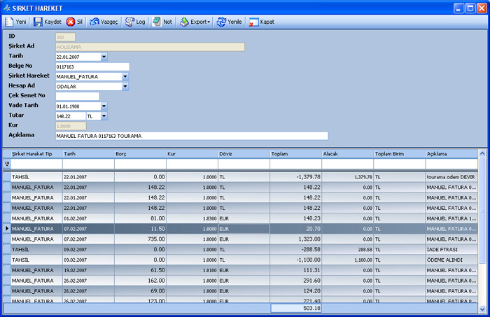 Sistem Hotel Software PMS-  Companies Transactions