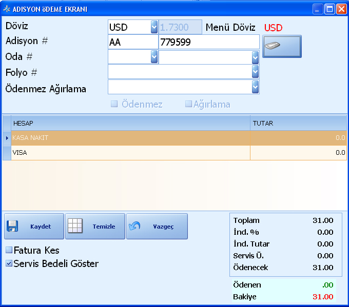 Sistem Hotel Software PMS-  Payment