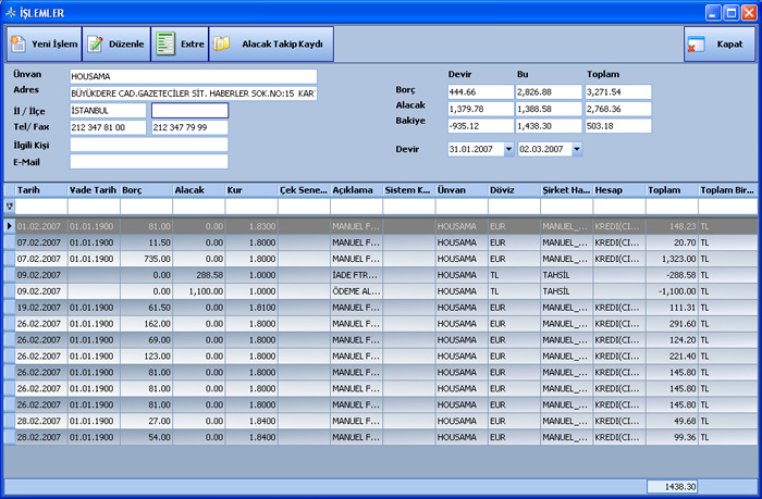 Sistem Hotel Software PMS-  Transactions